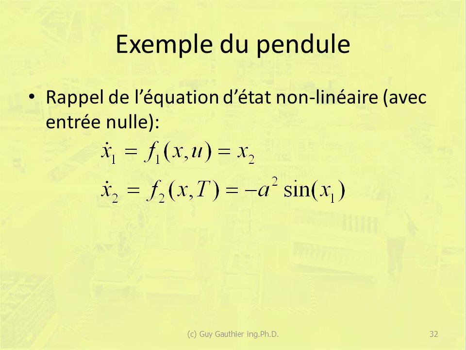 Exemple du pendule Rappel de léquation détat non-linéaire (avec entrée nulle): (c) Guy Gauthier ing.Ph.D.32