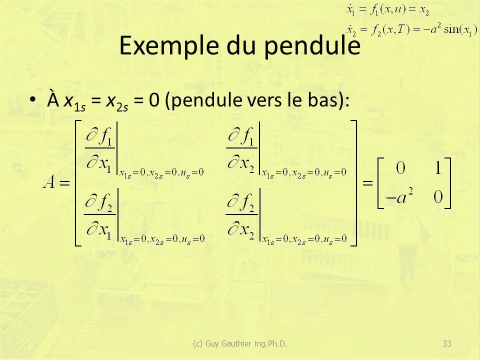 Exemple du pendule À x 1s = x 2s = 0 (pendule vers le bas): (c) Guy Gauthier ing.Ph.D.33