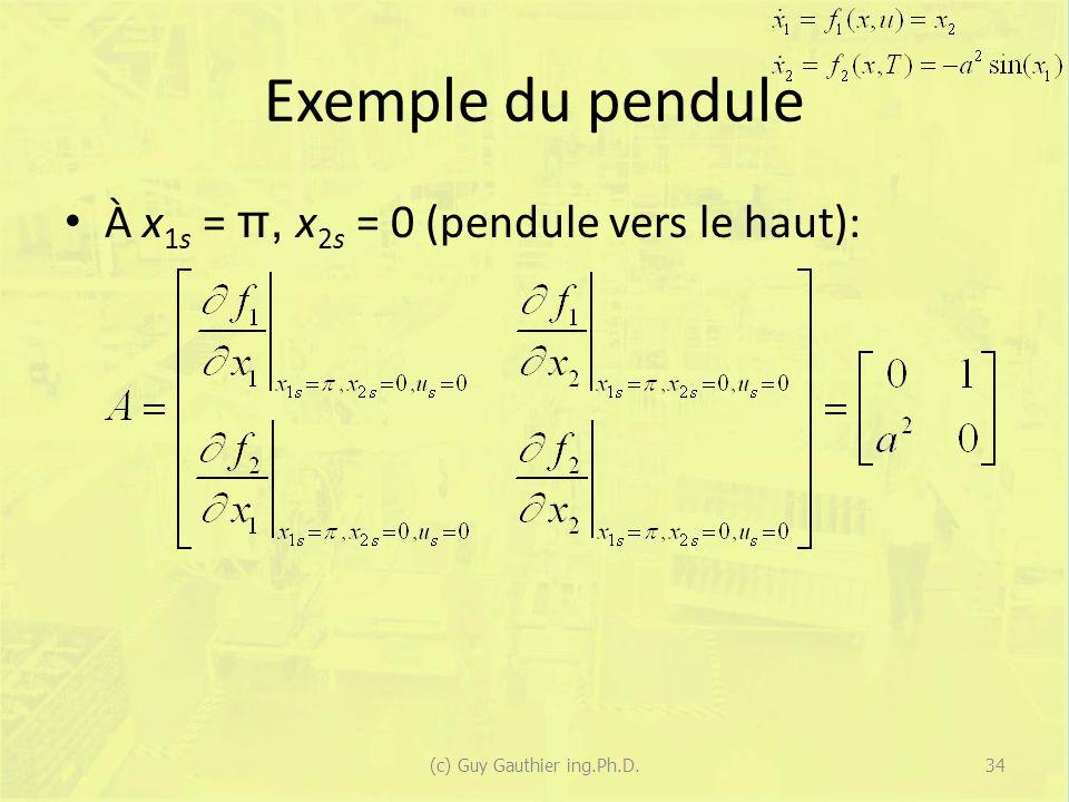 Exemple du pendule À x 1s = π, x 2s = 0 (pendule vers le haut): (c) Guy Gauthier ing.Ph.D.34