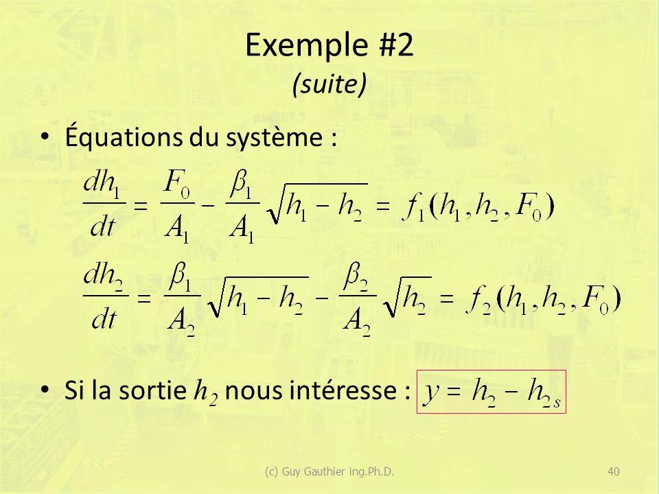 Exemple #2 (suite) Équations du système : Si la sortie h 2 nous intéresse : 40(c) Guy Gauthier ing.Ph.D.