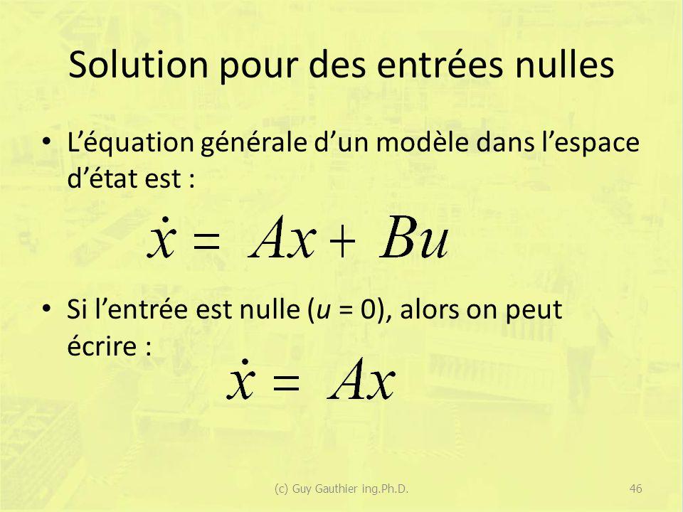 Solution pour des entrées nulles Léquation générale dun modèle dans lespace détat est : Si lentrée est nulle (u = 0), alors on peut écrire : 46(c) Guy Gauthier ing.Ph.D.
