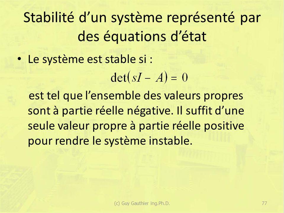 Stabilité dun système représenté par des équations détat Le système est stable si : est tel que lensemble des valeurs propres sont à partie réelle négative.