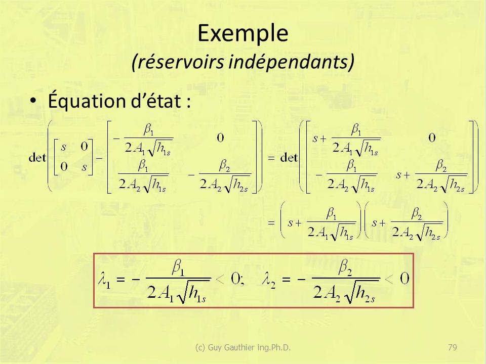 Exemple (réservoirs indépendants) Équation détat : 79(c) Guy Gauthier ing.Ph.D.