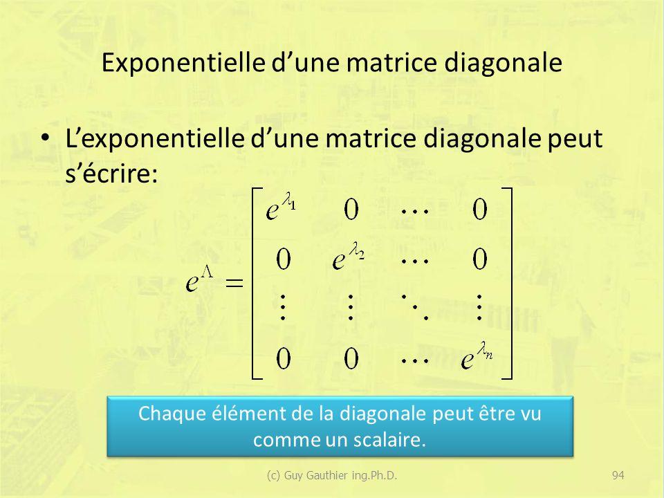 Exponentielle dune matrice diagonale Lexponentielle dune matrice diagonale peut sécrire: Chaque élément de la diagonale peut être vu comme un scalaire.