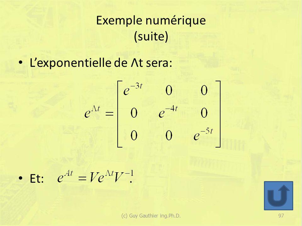 Exemple numérique (suite) Lexponentielle de Λt sera: Et:. 97(c) Guy Gauthier ing.Ph.D.
