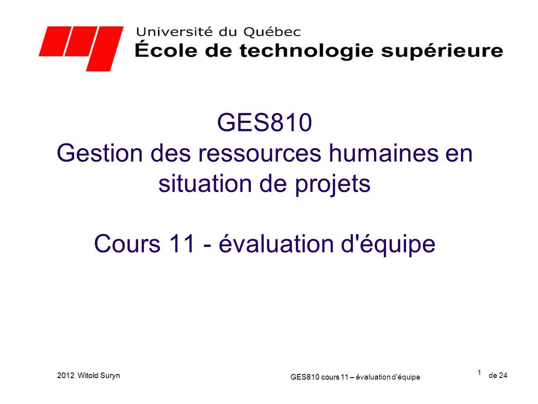 1 GES810 cours 11 – GES810 cours 11 – évaluation d'équipe de 24 2012 Witold Suryn GES810 Gestion des ressources humaines en situation de projets Cours