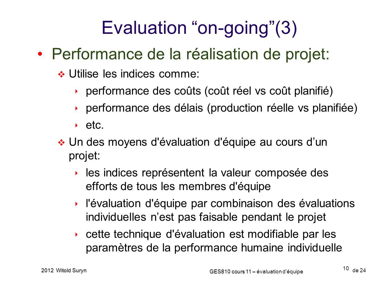 10 GES810 cours 11 – GES810 cours 11 – évaluation d'équipe de 24 2012 Witold Suryn Evaluation on-going(3) Performance de la réalisation de projet: Uti