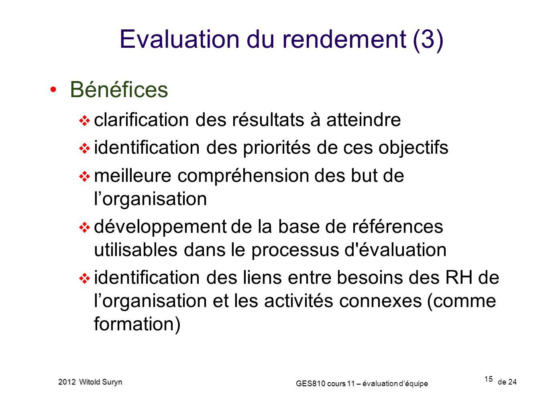 15 GES810 cours 11 – GES810 cours 11 – évaluation d'équipe de 24 2012 Witold Suryn Evaluation du rendement (3) Bénéfices clarification des résultats à