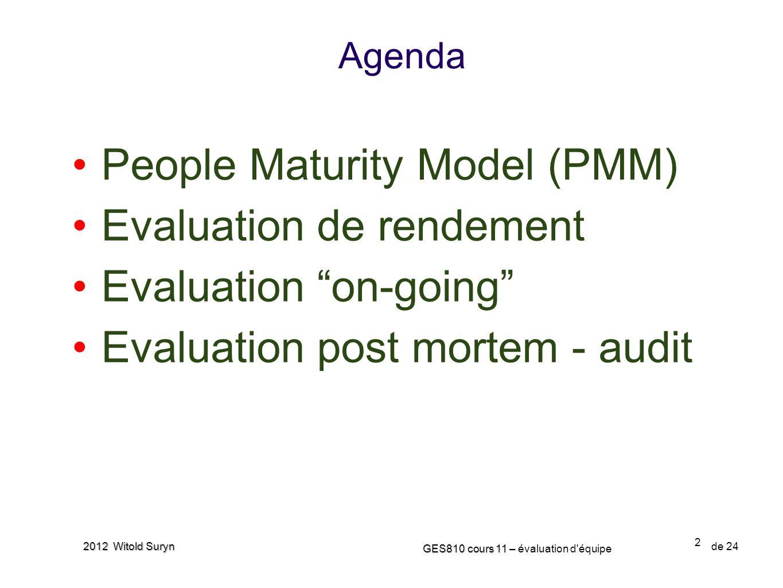 2 GES810 cours 11 – GES810 cours 11 – évaluation d'équipe de 24 2012 Witold Suryn People Maturity Model (PMM) Evaluation de rendement Evaluation on-go