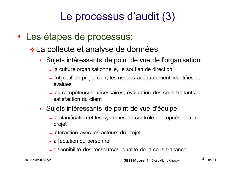 21 GES810 cours 11 – GES810 cours 11 – évaluation d'équipe de 24 2012 Witold Suryn Le processus daudit (3) Les étapes de processus: La collecte et ana