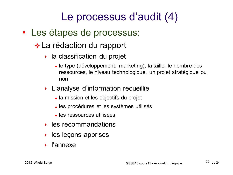 22 GES810 cours 11 – GES810 cours 11 – évaluation d'équipe de 24 2012 Witold Suryn Les étapes de processus: La rédaction du rapport la classification