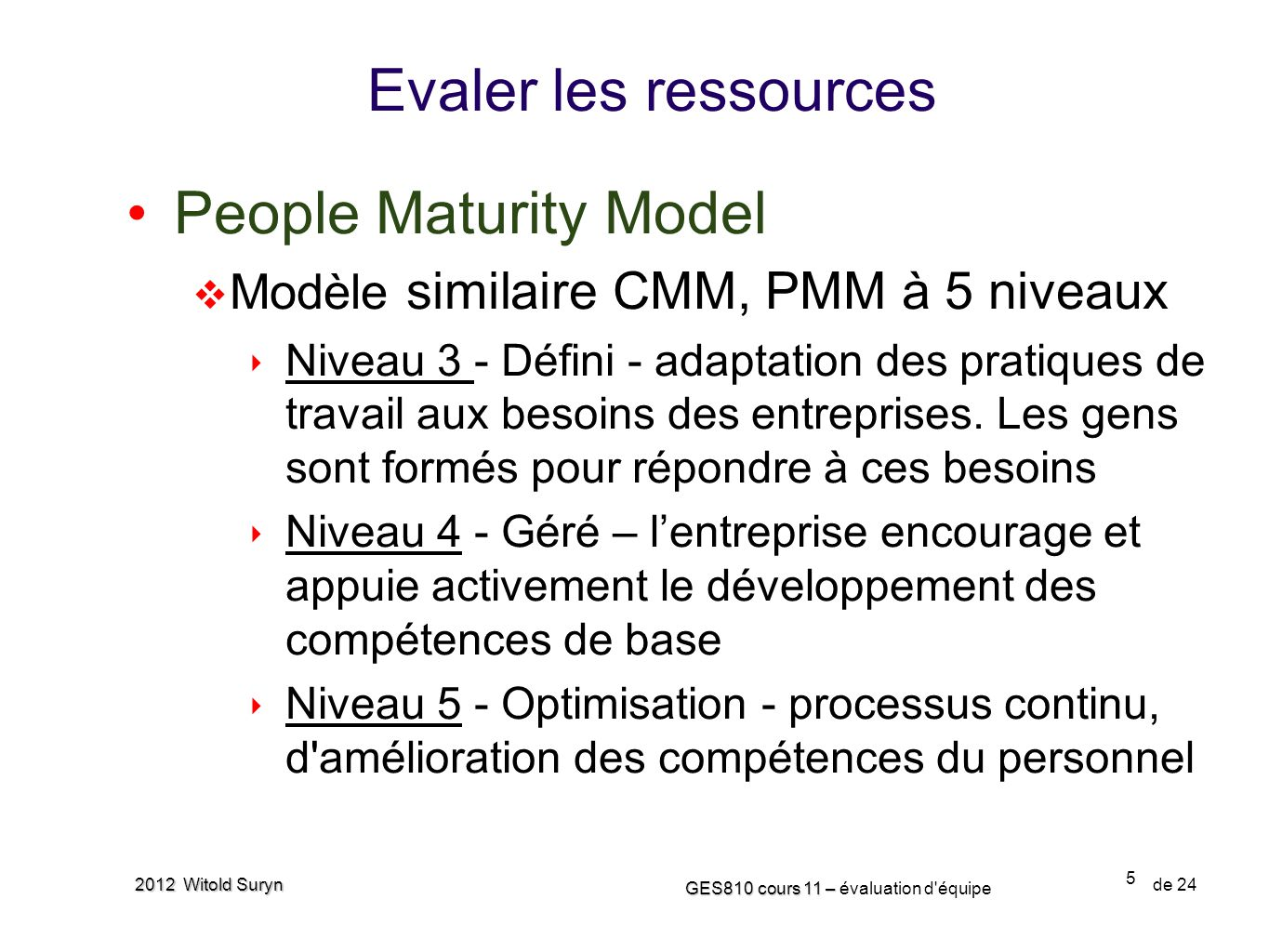 6 GES810 cours 11 – GES810 cours 11 – évaluation d équipe de 24 2012 Witold Suryn People Capability Maturity Model Repeatable Defined Managed Optimizing Process is informal and ad hoc Instill basic discipline into workforce activities Quantitatively manage organizational growth in workforce capabilities and establish competency- based teams Quantitatively manage organizational growth in workforce capabilities and establish competency- based teams Continuously improve methods for developing personal and organizational competence Continuously improve methods for developing personal and organizational competence LevelProcess Characteristics Compensation Training Performance Management Staffing Communication Work Environment Continuous Workforce Innovation Coaching Personal Competency Development Key Process Areas Identify primary competencies and align workforce activities with them Participatory Culture Workforce Planning Competency-Based Practices Career Development Competency Development Knowledge and Skills Analysis Organizational Performance Alignment Organizational Competency Management Team-Based Practices Team Building Mentoring Initial