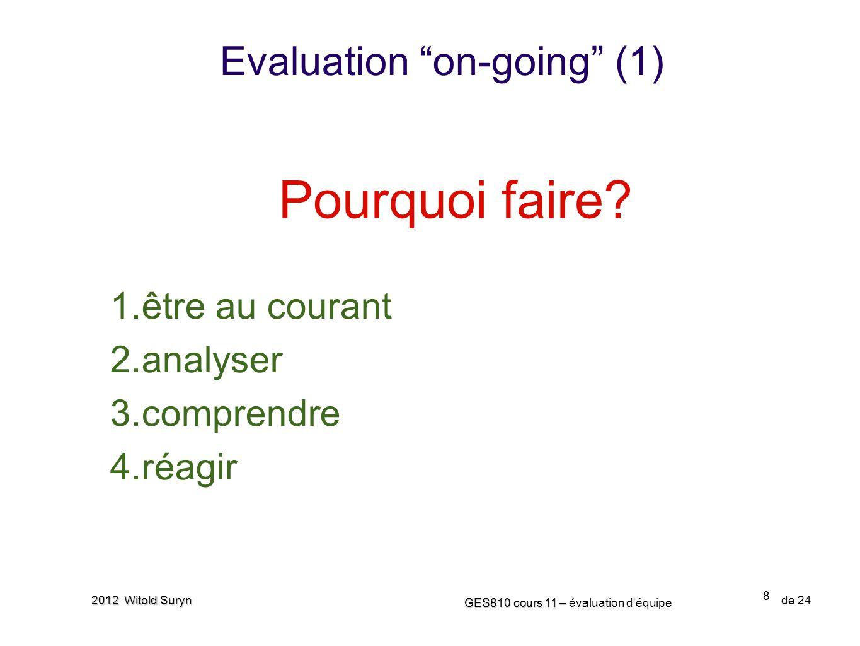 8 GES810 cours 11 – GES810 cours 11 – évaluation d'équipe de 24 2012 Witold Suryn Evaluation on-going (1) Pourquoi faire? 1.être au courant 2.analyser