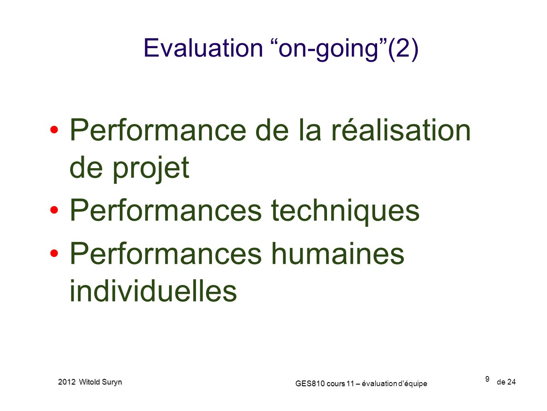 9 GES810 cours 11 – GES810 cours 11 – évaluation d'équipe de 24 2012 Witold Suryn Evaluation on-going(2) Performance de la réalisation de projet Perfo