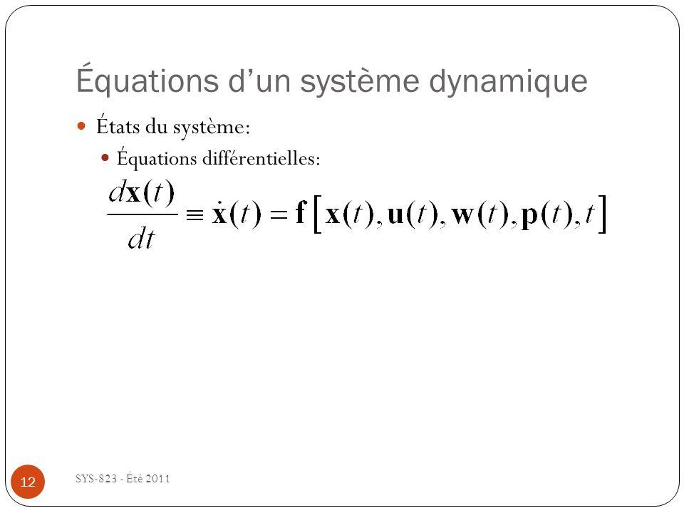 Équations dun système dynamique SYS-823 - Été 2011 États du système: Équations différentielles: 12