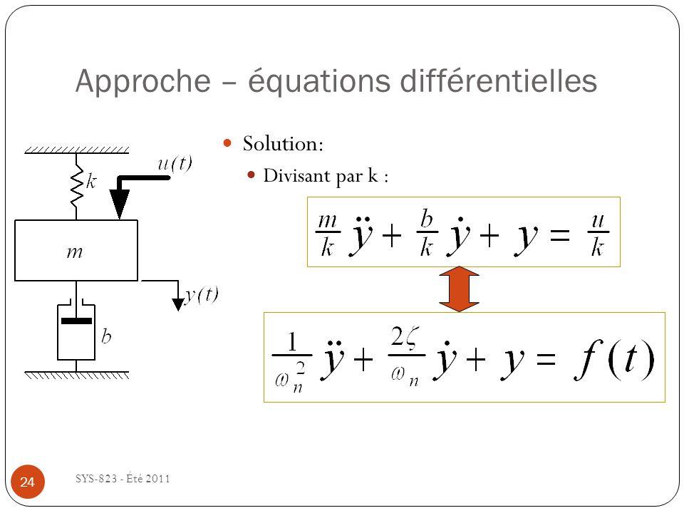 Approche – équations différentielles SYS-823 - Été 2011 Solution: Divisant par k : 24
