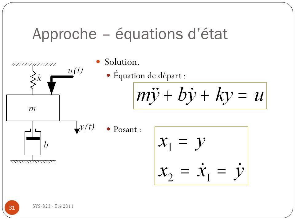Approche – équations détat SYS-823 - Été 2011 Solution. Équation de départ : Posant : 31