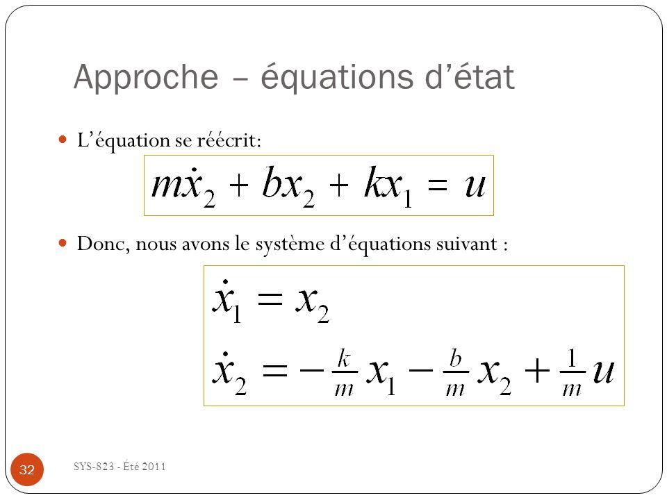 Approche – équations détat SYS-823 - Été 2011 Léquation se réécrit: Donc, nous avons le système déquations suivant : 32