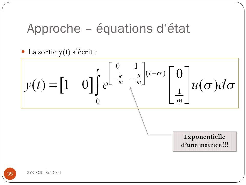Approche – équations détat SYS-823 - Été 2011 La sortie y(t) sécrit : Exponentielle dune matrice !!! 35