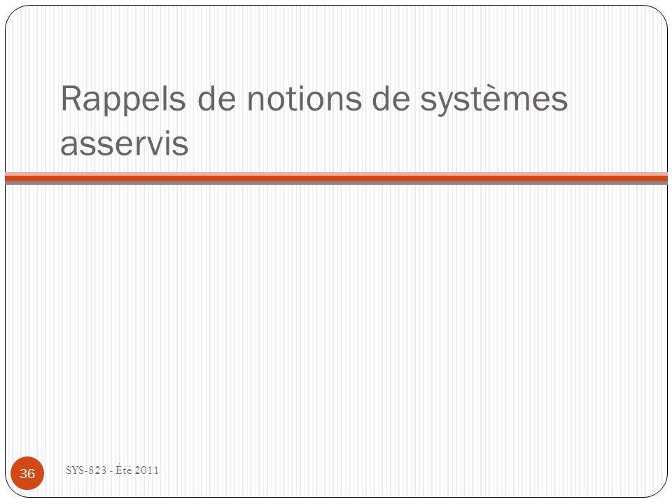 Rappels de notions de systèmes asservis SYS-823 - Été 2011 36