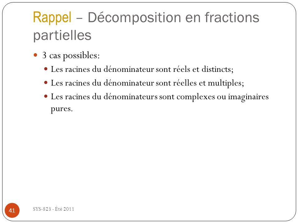 Rappel – Décomposition en fractions partielles SYS-823 - Été 2011 3 cas possibles: Les racines du dénominateur sont réels et distincts; Les racines du