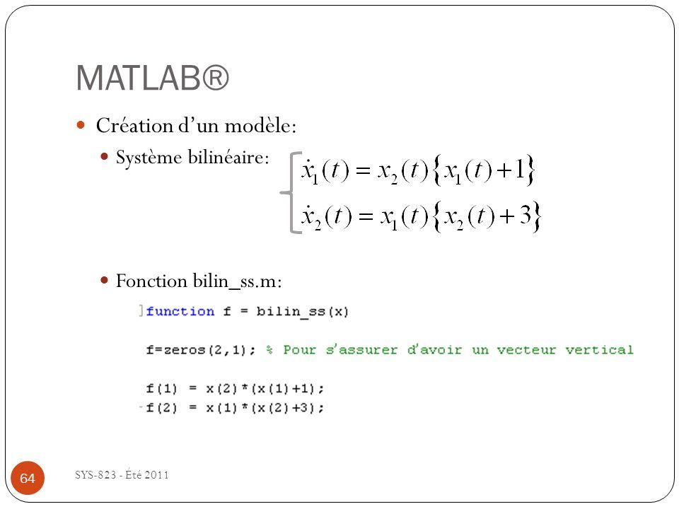 MATLAB® SYS-823 - Été 2011 Création dun modèle: Système bilinéaire: Fonction bilin_ss.m: 64
