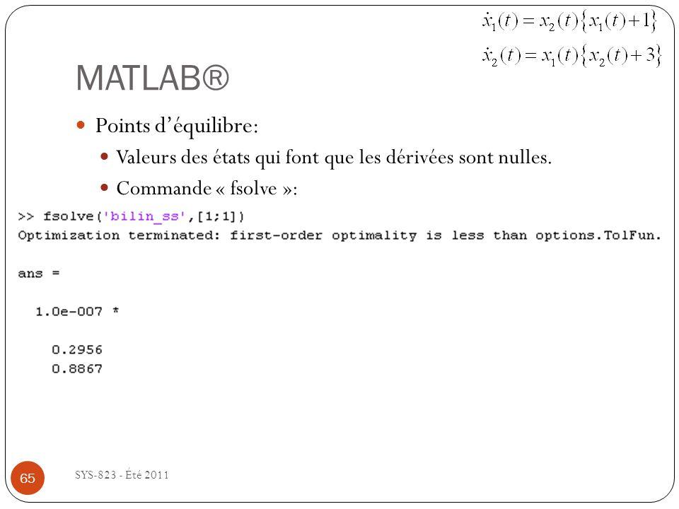 MATLAB® SYS-823 - Été 2011 Points déquilibre: Valeurs des états qui font que les dérivées sont nulles. Commande « fsolve »: 65
