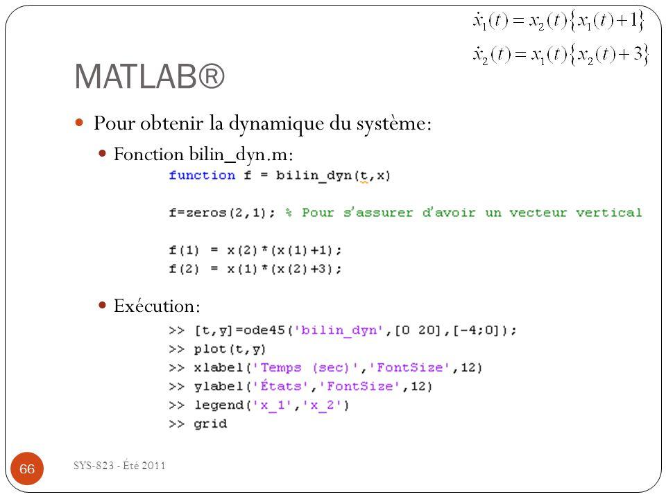 MATLAB® SYS-823 - Été 2011 Pour obtenir la dynamique du système: Fonction bilin_dyn.m: Exécution: 66