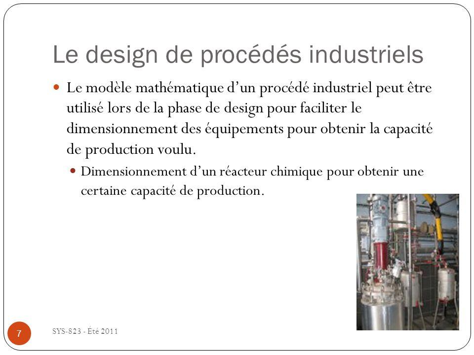 Le design de procédés industriels SYS-823 - Été 2011 Le modèle mathématique dun procédé industriel peut être utilisé lors de la phase de design pour f
