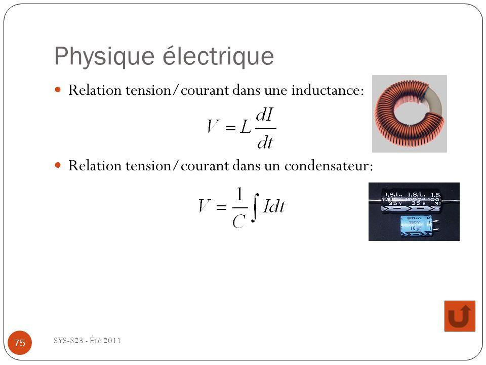 Physique électrique SYS-823 - Été 2011 Relation tension/courant dans une inductance: Relation tension/courant dans un condensateur: 75