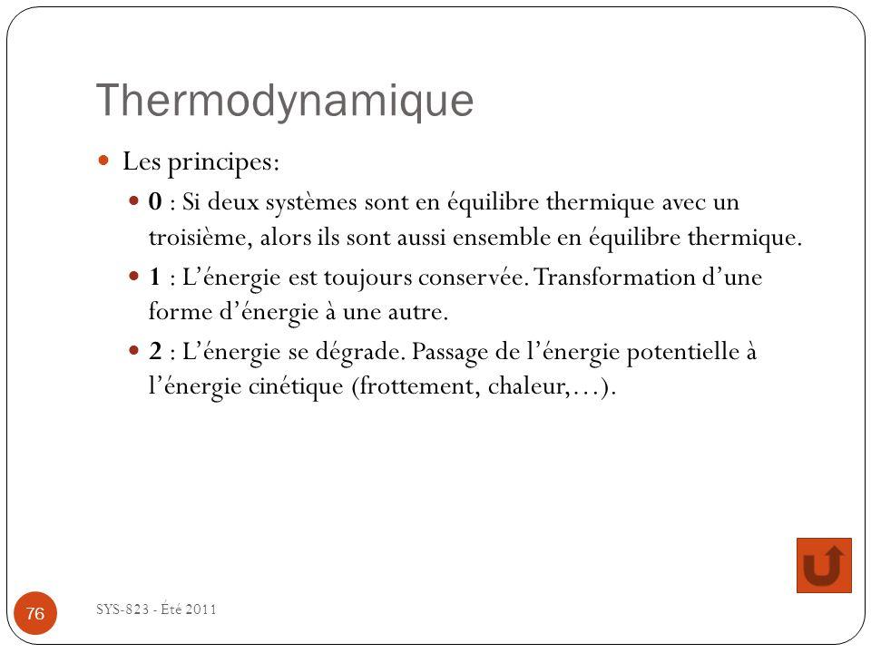Thermodynamique SYS-823 - Été 2011 Les principes: 0 : Si deux systèmes sont en équilibre thermique avec un troisième, alors ils sont aussi ensemble en