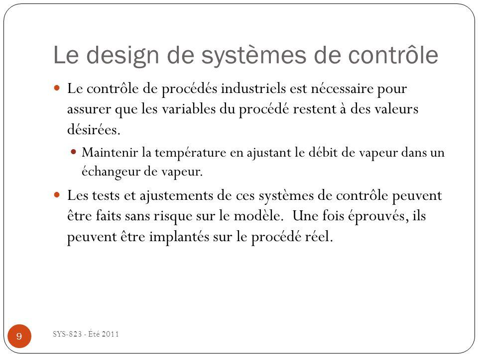 Le design de systèmes de contrôle SYS-823 - Été 2011 Le contrôle de procédés industriels est nécessaire pour assurer que les variables du procédé rest