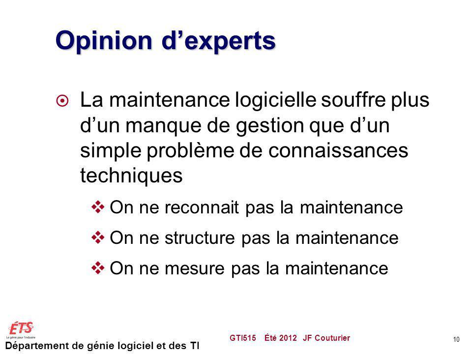 Département de génie logiciel et des TI Opinion dexperts La maintenance logicielle souffre plus dun manque de gestion que dun simple problème de conna