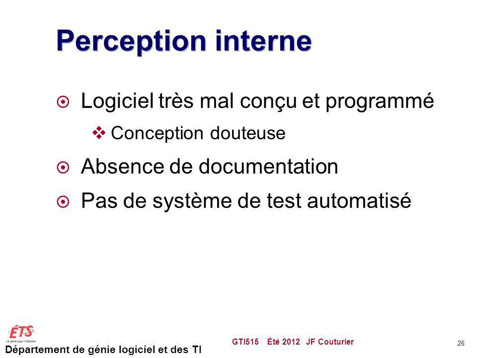 Département de génie logiciel et des TI Perception interne Logiciel très mal conçu et programmé Conception douteuse Absence de documentation Pas de sy