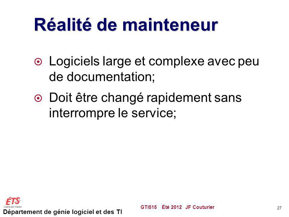 Département de génie logiciel et des TI Réalité de mainteneur Logiciels large et complexe avec peu de documentation; Doit être changé rapidement sans
