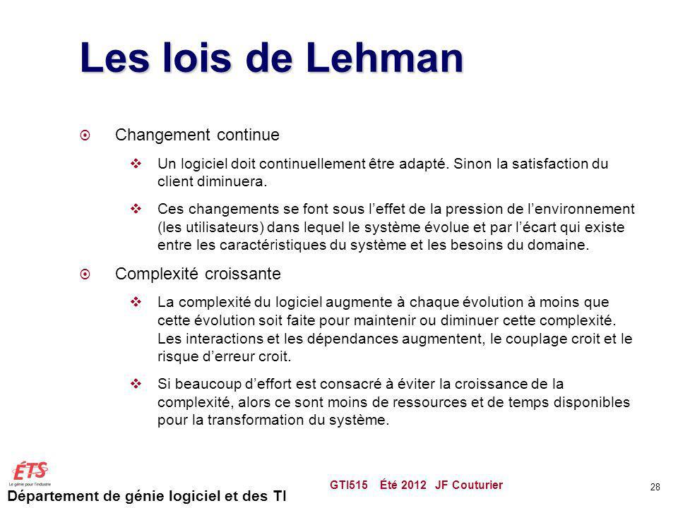 Département de génie logiciel et des TI Les lois de Lehman Changement continue Un logiciel doit continuellement être adapté. Sinon la satisfaction du