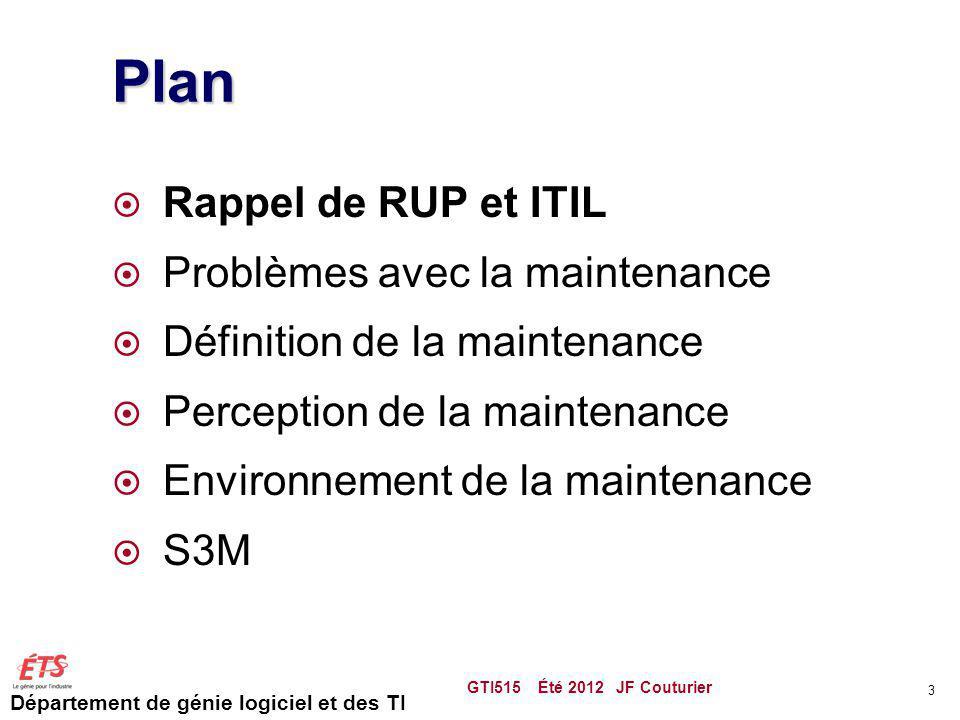 Département de génie logiciel et des TI Plan Rappel de RUP et ITIL Problèmes avec la maintenance Définition de la maintenance Perception de la mainten