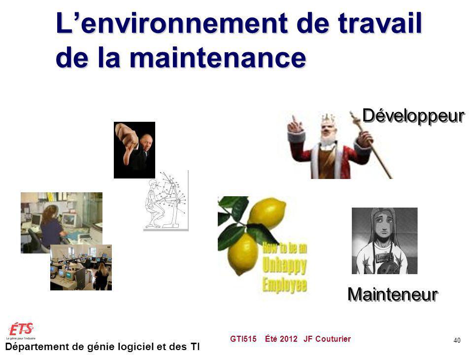 Département de génie logiciel et des TI Lenvironnement de travail de la maintenance GTI515 Été 2012 JF Couturier 40 Développeur Mainteneur