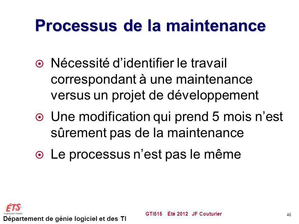Département de génie logiciel et des TI Processus de la maintenance Nécessité didentifier le travail correspondant à une maintenance versus un projet