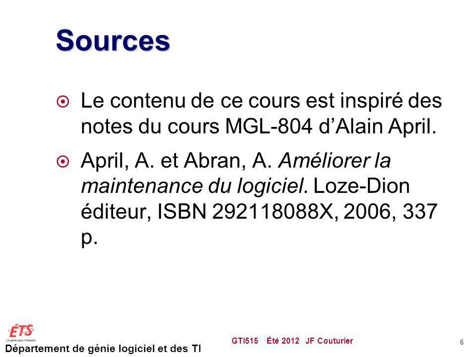 Département de génie logiciel et des TI Sources Le contenu de ce cours est inspiré des notes du cours MGL-804 dAlain April. April, A. et Abran, A. Amé