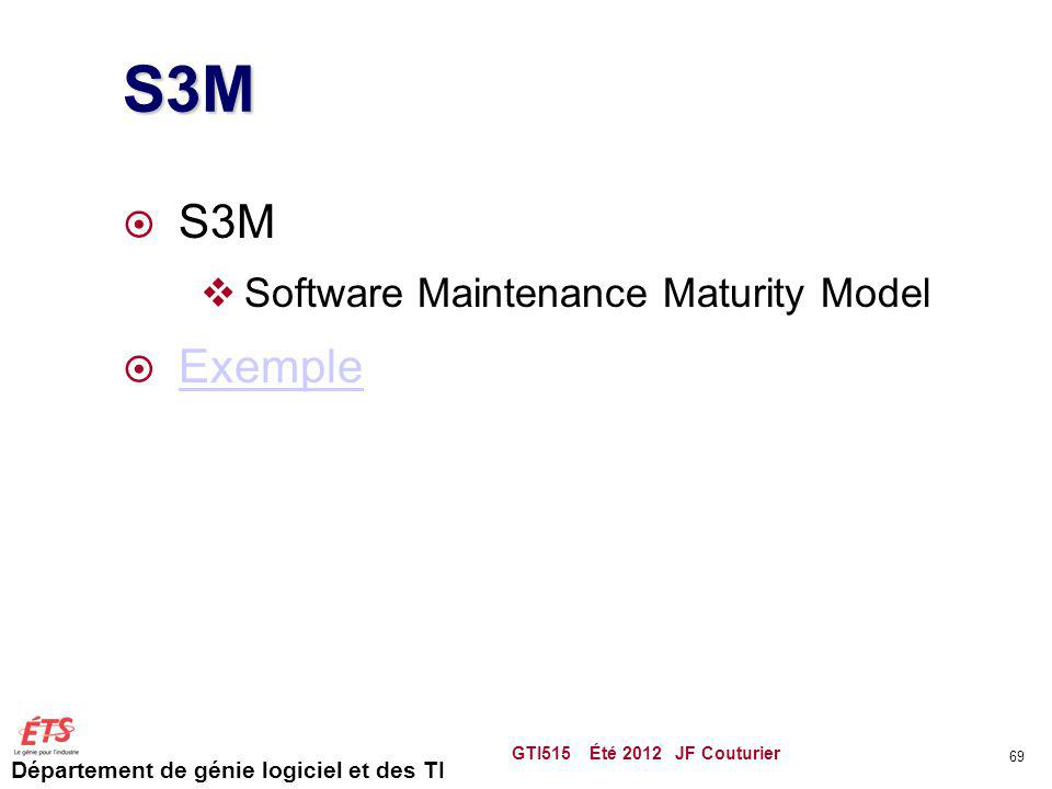 Département de génie logiciel et des TI S3M S3M Software Maintenance Maturity Model Exemple GTI515 Été 2012 JF Couturier 69