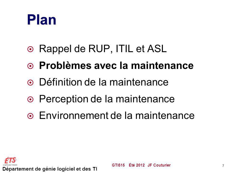 Département de génie logiciel et des TI Plan Rappel de RUP, ITIL et ASL Problèmes avec la maintenance Définition de la maintenance Perception de la maintenance Environnement de la maintenance S3M GTI515 Été 2012 JF Couturier 68