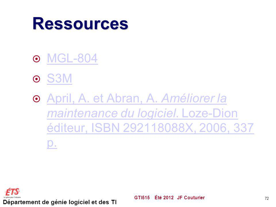 Département de génie logiciel et des TI Ressources MGL-804 S3M April, A. et Abran, A. Améliorer la maintenance du logiciel. Loze-Dion éditeur, ISBN 29