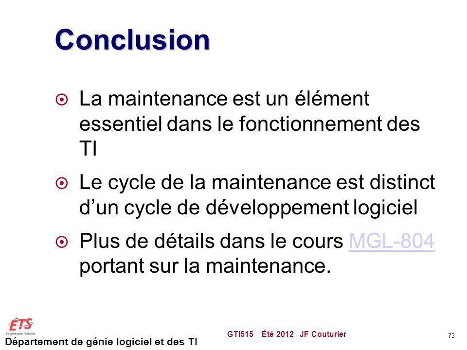 Département de génie logiciel et des TI Conclusion La maintenance est un élément essentiel dans le fonctionnement des TI Le cycle de la maintenance es