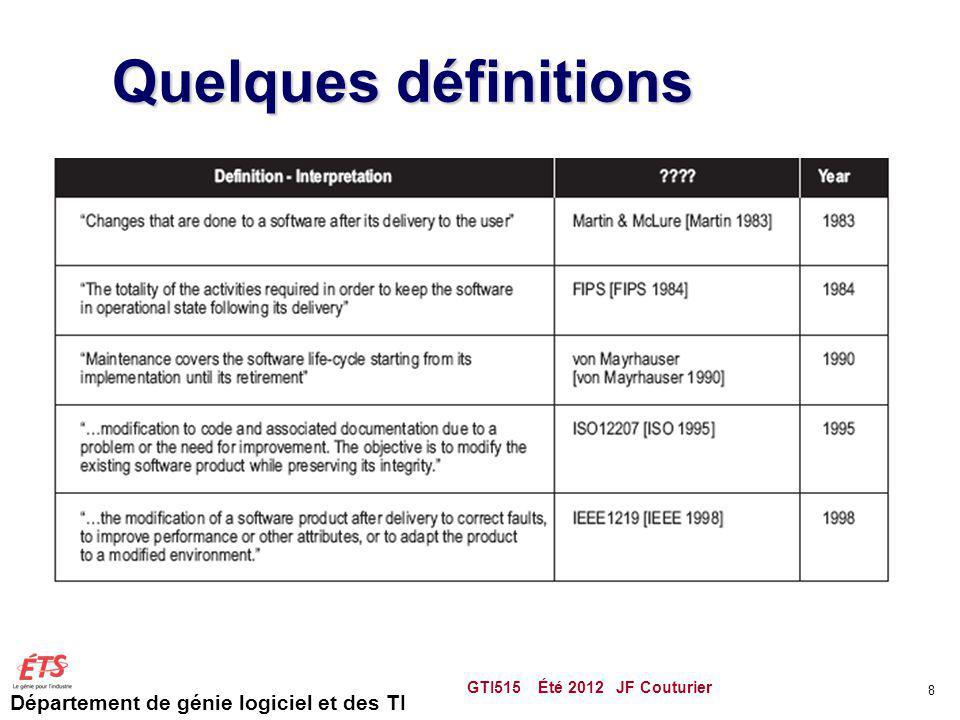 Département de génie logiciel et des TI Catégorie de requête GTI515 Été 2012 JF Couturier 59