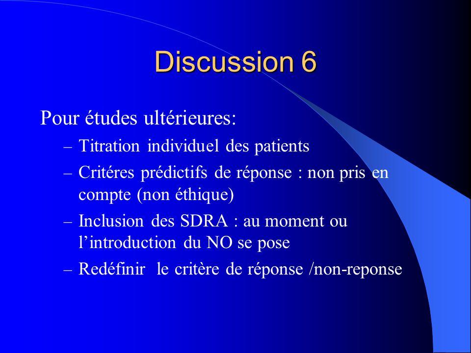 Discussion 6 Pour études ultérieures: – Titration individuel des patients – Critéres prédictifs de réponse : non pris en compte (non éthique) – Inclusion des SDRA : au moment ou lintroduction du NO se pose – Redéfinir le critère de réponse /non-reponse