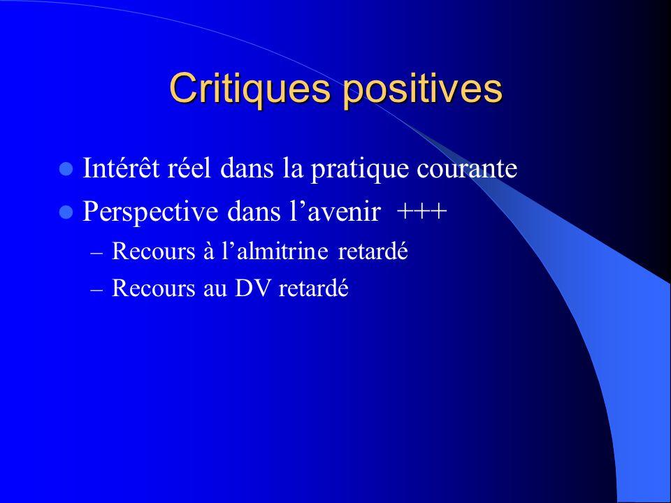 Critiques positives Intérêt réel dans la pratique courante Perspective dans lavenir +++ – Recours à lalmitrine retardé – Recours au DV retardé