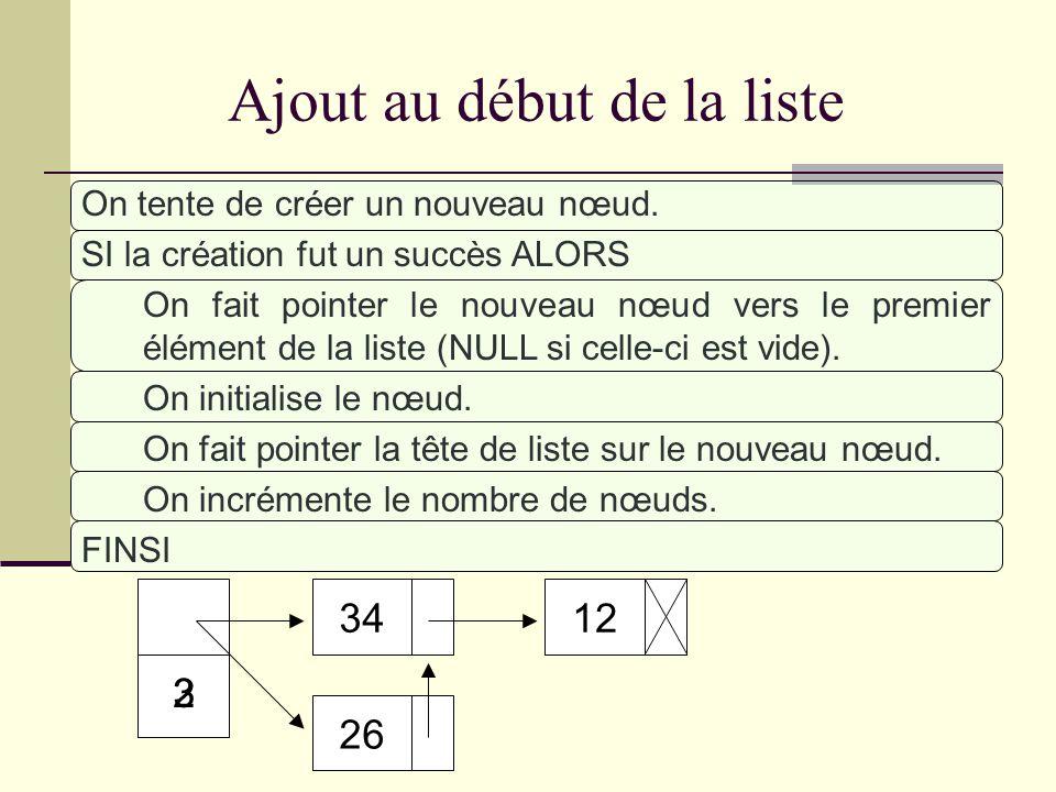 3 Consultation du i ème élément SI i 0 et i < nombre de nœuds de la liste ALORS On fait pointer un pointeur sur le premier nœud. TANT QUE i > 0 BOUCLE