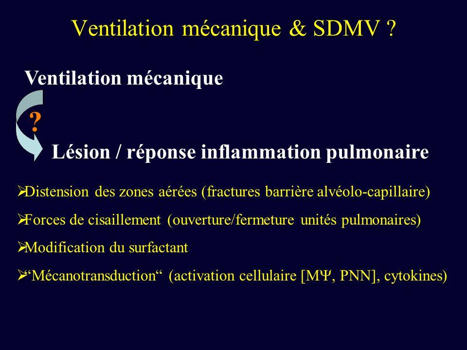 Tremblay & Slutsky, JCI 1997 Injurious Ventilatory Strategies Increase Cytokines and c- fos m-RNA Expression in an Isolated Rat Lung Model Tremblay & Slutsky, JCI 1997 Objectif: effet de la stratégie de ventilation mécanique sur la production de médiateurs inflammatoires pulmonaires en présence ou en labsence de LPS Rats (n=55), injection salé 9 ou LPS, V spontané (50mn), Excision pulmonaire 4 stratégies ventilatoires controlvt=7ml/kg, PEEP=3cm H 2 O MVHP vt=15ml/kg, PEEP=10cm H 2 O MVZPvt=15ml/kg, ZEEP HVZP vt=40ml/kg, ZEEP LBA: TNF, IL-1, IL-6, IL-10, IFN, MIP-2