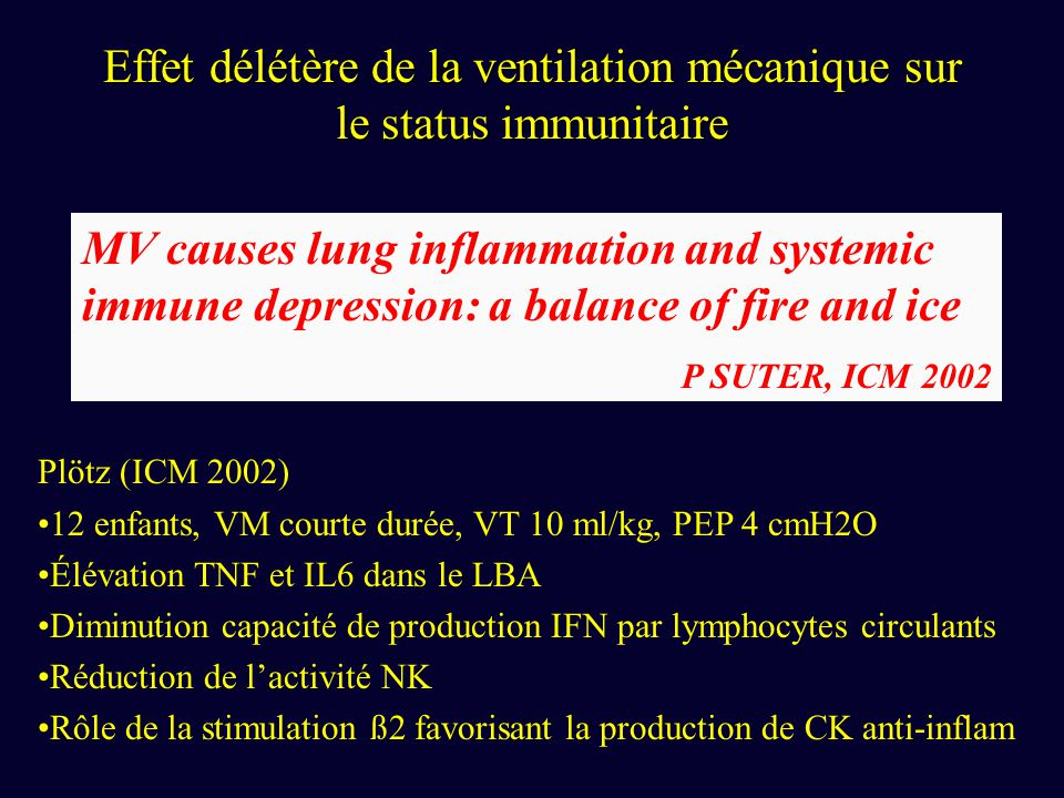 Effet délétère de la ventilation mécanique sur le status immunitaire MV causes lung inflammation and systemic immune depression: a balance of fire and